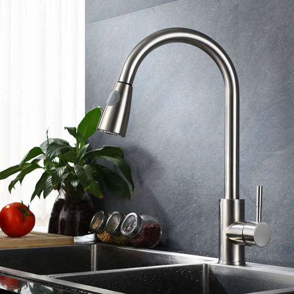 Brushed Nickel Kitchen Faucet PullOut Sprayer Single Hole Swivel Sink Mixer Tap#