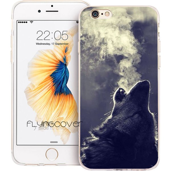 Fundas Animal Wolf Hipster Clear Soft TPU Silicone Phone Cover for iPhone X 7 8 Plus 5S 5 SE 6 6S Plus 5C 4S 4 iPod Touch 6 5 Cases.