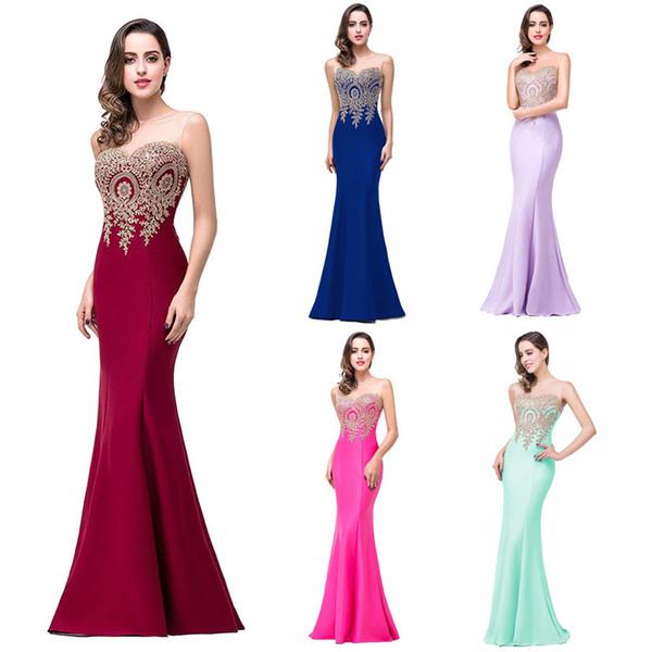 Mingli Tengda 2017 Yeni Moda Zarif Mermaid Gelinlik Modelleri Sheer Boyun Dantel Aplike Akşam Parti Abiye Kırmızı Halı Pist Elbiseler