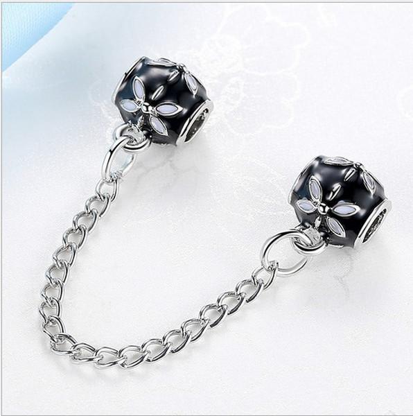 Fit Sterling Silver Bracelet Silver Daisy Flower Lotus European Safety Chain Charm Fits pandora Bracelet jewelry findings Women Gif