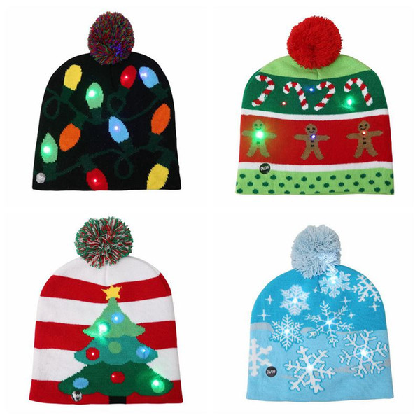 Crochet Christmas Hats Adults.4 Styles Led Light Knitted Christmas Hat Unisex Adults Kids New Year Xmas Luminous Flashing Knitting Crochet Hat Party Favor Cca10262 Party Clothes