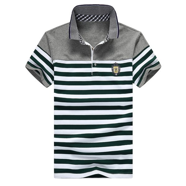 Grandwish Stripe Polo Shirts Mens Slim Fit Short Sleeve Striped Polo Shirts For Men Summer Turn -Down Collar Homme Polos