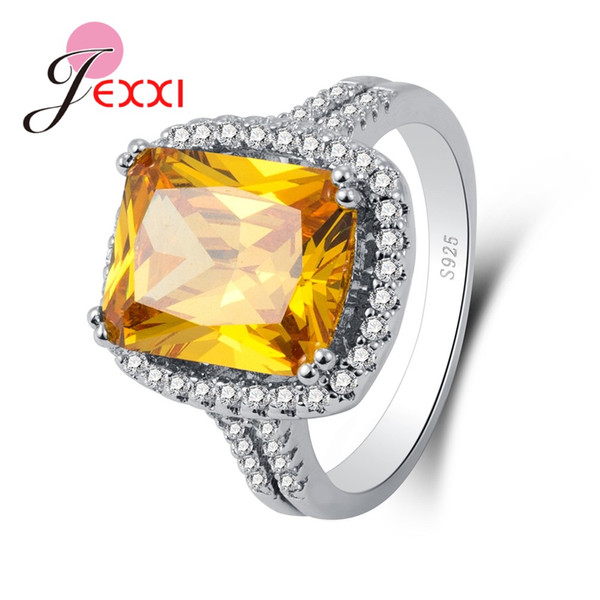 JEXXI High Quality Women Female Party Jewelry 925 Sterling Sier Geometric Ring With Big Square AAA Golden Crystal