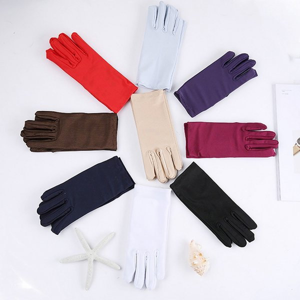 Cheap Mens Solid White Performance Gloves Short Waitor Gloves White Black Red Gray Beige Men Manner Ceremonial For Male