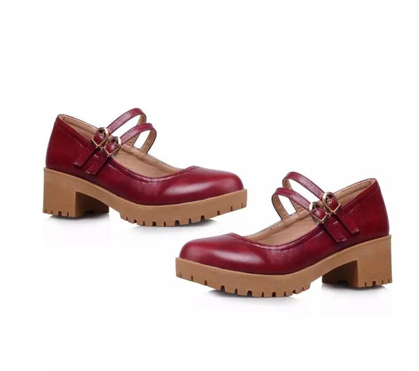 Thick Japanese cute little red shoes with thick forest department Shuangkou doll shoes
