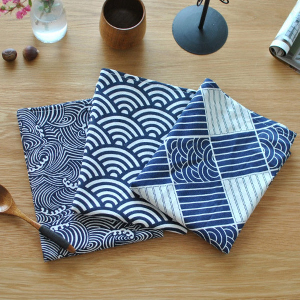 top popular 2018 New 40*70cm Sector Plaid Sea Waves Japanese Style Mat Napkin Dessert Table Napkins Towels Kitchen Dishcloth Placemats 2021