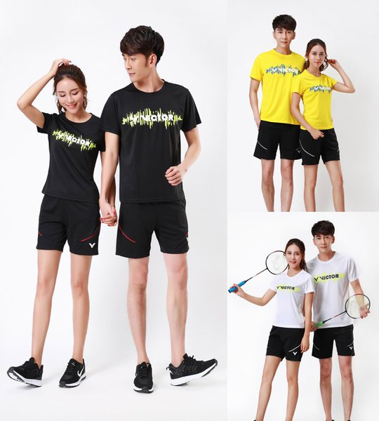 NEW Victor competition personality badminton wear t-shirt suit clothes,men tennis jerseys sport shorts,women table tennis t-shirt train suit