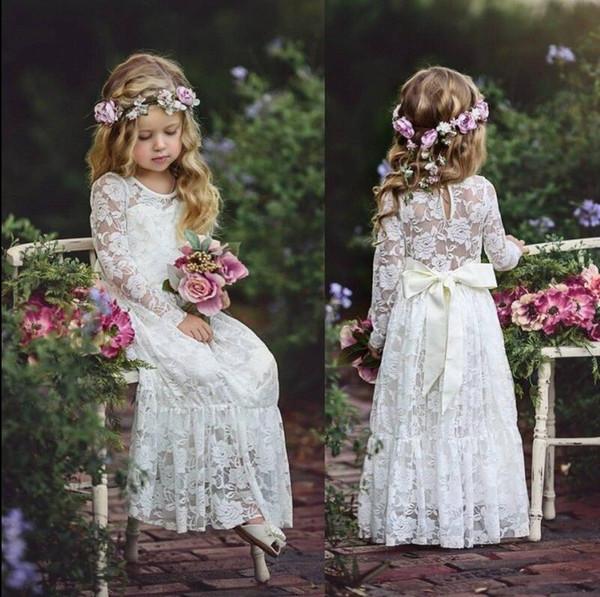 2018 Cute Country economici pieno pizzo Flower Girls Abiti maniche lunghe Ritzee Girl Pageant Party Gowns Teens bambini abiti da comunione formale