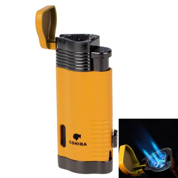 COHIBA HighGrade Windproof Lighter Torch Jet Flame Refillable Blue Flame Inflatable Triple Flame Cigar Lighter gas torch lighter