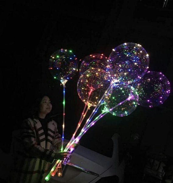 DHL 20 Inch LED Balloon Luminous Transparent Colored Flashing Lighting Balloons with 80cm Pole Wedding Party Event Decorations Accessory