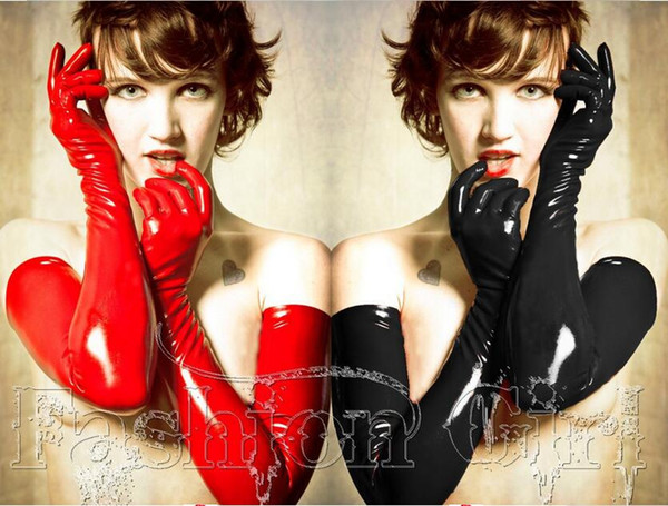 Promotion High Quality Sexy Black Red PVC Clubwear Women Leather Long Gloves Hip-Hop Play Drum Mittens Fetish Latex Dance Gloves