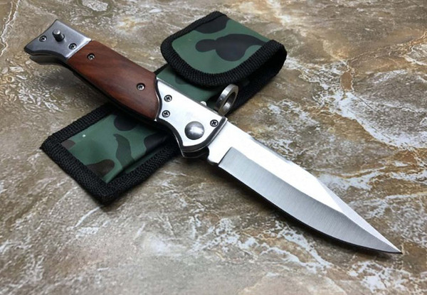 best selling wholesale AUTO automatic wood handle knife Camping Hunting Survival knife Cowskin scabbard 1pcs Free shipping