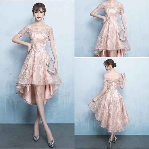 Neue 2019 Kleider Abendgarderobe High Low Schulterfrei Spitze Rose Gold Formale Kleid Prom Kleider Für Frauen