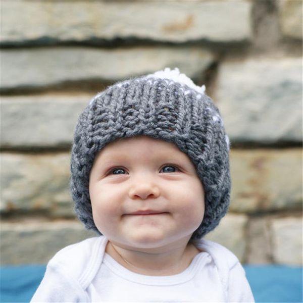 Fashion Baby Girls Crochet Woolen Yarn Hats Kids Hand Made Knitting Warm Caps Earflap Autumn Winter Beanie Ear Warmer with hair bulb BH20