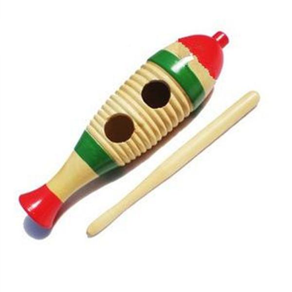 Poisson en bois grenouille couleur journal grenouille tambour fabricants en gros jouets jouets et jouets Spécification 20 * 6 cm
