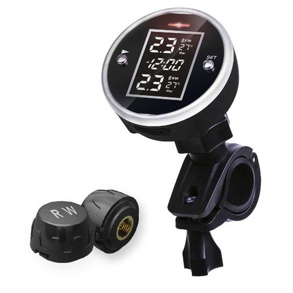 Motosikletler ve bisikletler TPMS Lastik Basıncı Monitör Sistemi 2-sensor Kablosuz LCD Ekran Moto Alarm Sistemi Çelik arkadaşı