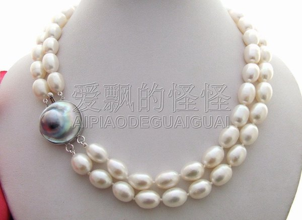 """N080163 18"""" 2 Rows White Rice Pearl Necklace-Mabe Clasp"""
