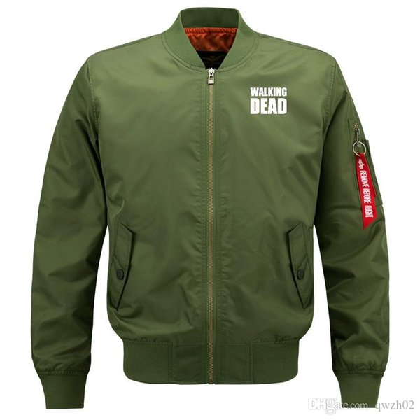 Walking dead Bomber Flight Flying Jacket Winter thicken Warm Zipper Men Jackets Anime Men's Casual Coat zh1