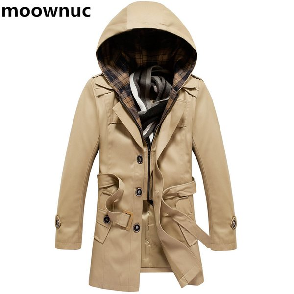 2018 New coats Men Hat Detatchable Hooded Men's Jacket casual Jackets Windbreaker Mens 100% cotton trench coat Plus Size M-4XL