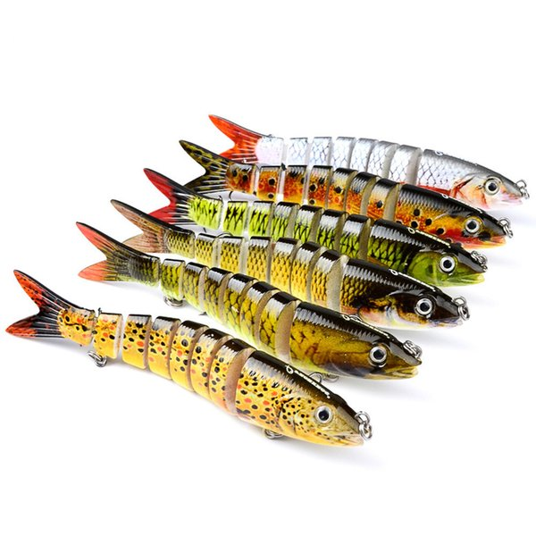 13cm 19g Fishing Lure 3D Eyes 7-Segment Lifelike Fishing Hard Lure Crankbait Hard Bait Artificial Lures - Fishing Accessories