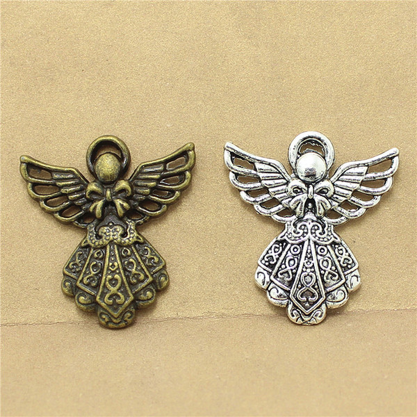 Sweet Bell free shipping 40pcs/lot 23*26mm two color alloy Angel charms diy jewelry accessories D1111