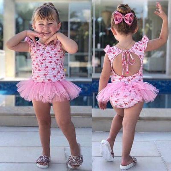 Newborn Baby Girls One-Piece Kids Girl Swimwear Baby Swimsuit Girl Princess Flamingo Backless Swimwear Cute Clothing