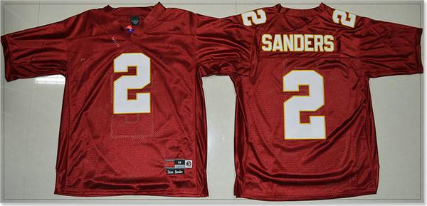 Seminoles do estado de Florida FSU Camisas costuradas vintage do bordado dos homens das máquinas de lixar de Deion # 2 do vintage Camisolas do pro dos esportes do futebol americano da faculdade