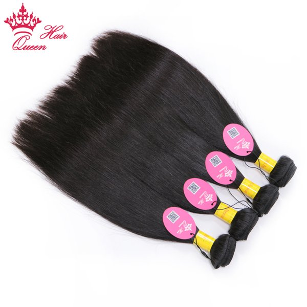 Queen Hair Products Peruvian Virgin Straight Human Hair Bundles Natural Color 4pcs/lot Hair Extensions Can Be Dyed