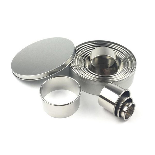 12pcs/set Fruit Cookie Cutter Mold Round Shape Box Design Mini Stainless Steel Mould Biscuit Fondant Cake DIY Decorating Tools
