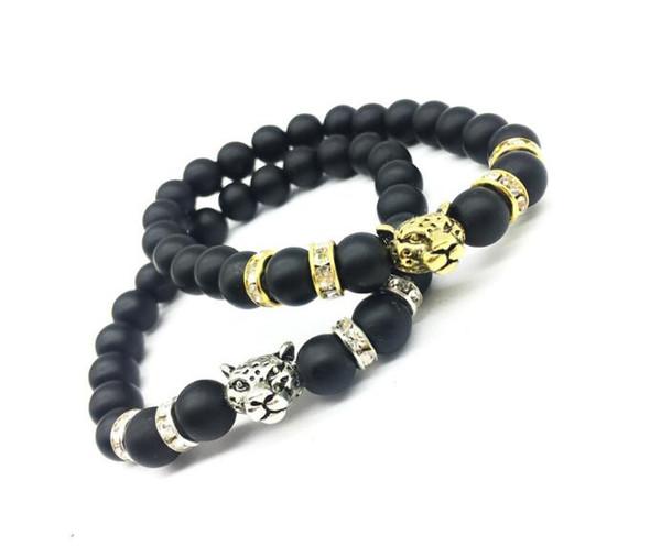 2018 heiße Verkäufe Leopard Kopf Charme Armbänder schwarz Lava Perlen Naturstein Buddha Armband Armreif Manschetten für Frauen Yoga Power Schmuck