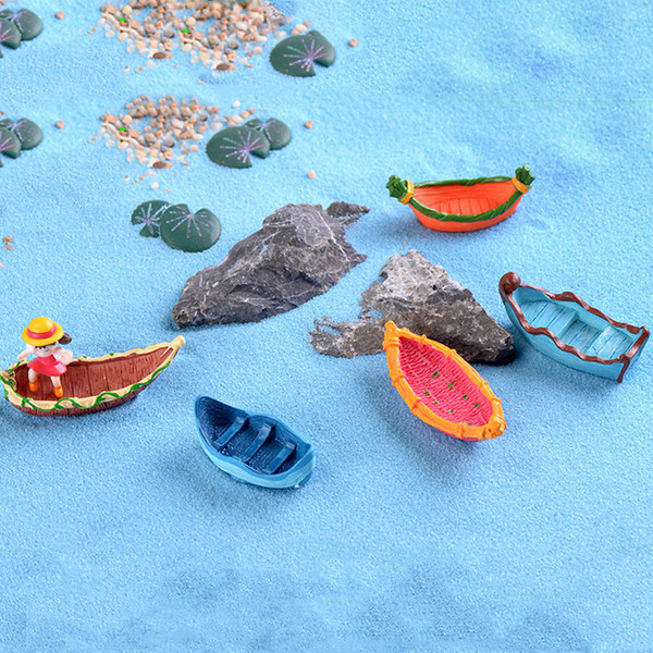 15pcs Resin Craft Dream Sailing Boat Zakka Fairy Garden Miniatures Bonsai Tool Terrarium Figurines jardin Home Accessories Micro Landscape