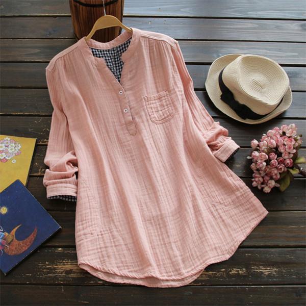 Plus Size ZANZEA Blusa de Lino de Algodón Mujer Sólida Cuello en V Manga Larga Botones Bolsillos Otoño Feminina Blusas Camisa Suelta de Verano