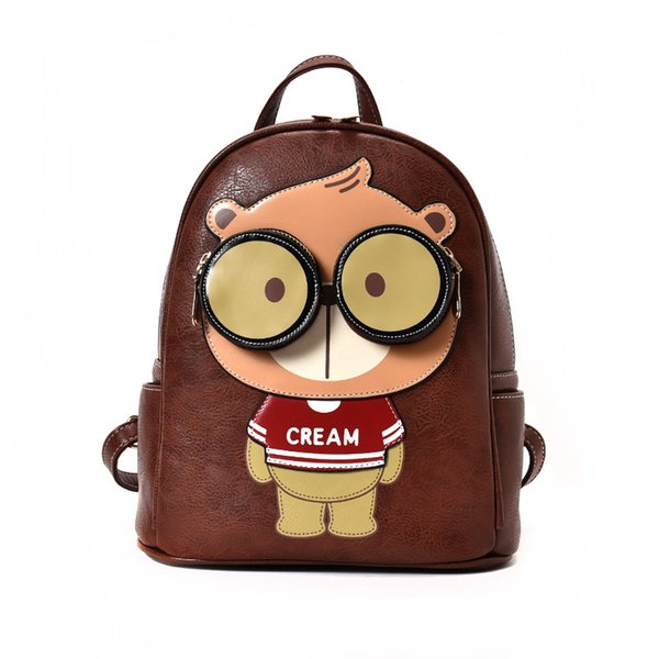 Cream The Woman Package 2018 New Paern Tide Fashion Both Shoulders Package Backpack Sweet Adorable Bear. Mini- Small Backpack