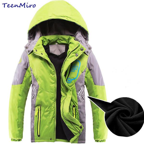 Winter Kids Fleece Jackets For Boys Children Jacket Outerwear Hooded Thick Coat Windproof Blazer Cold Windbreaker Parka 4-12Y