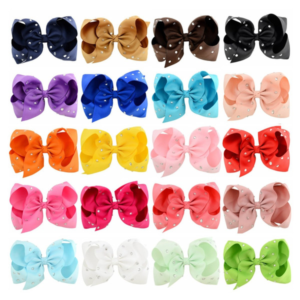 20Pcs/Lot Solid Grosgrain Ribbon Rhinestone Bow With Clip For Kids Handmade Boutique Crystal Hairgrips Girl Hair Accessories 759