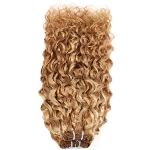 27/613 2 paquete de la armadura brasileña del pelo rizado 100% de la extensión del pelo humano rizado Remy Hair Bundles máquina doble trama