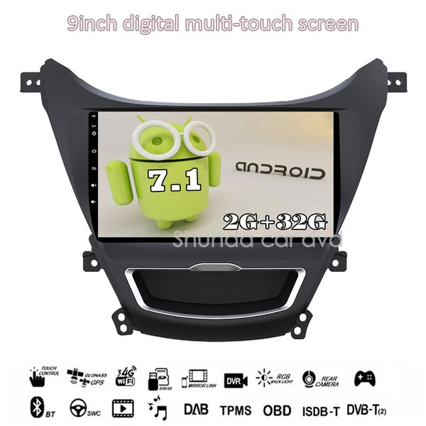 SHUNDA HD 9inch Android 7.1 T3 Car DVD player for Hyundai Elantra 2012-2015 with 3G 4G WIFI Radio Navigation BT GPS Map