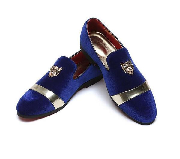 2019 moda britânica Designer homens apontou veludo azul vermelho Homecoming vestido de festa sapatos de casamento oxford flats mocassins masculinos dha27