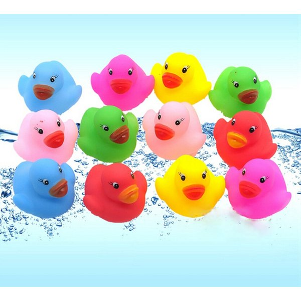 Bath Toys Shower Water Floating Squeaky Rubber Ducks Colorful Bath Toys Children Water Swimming Funny Newborn Toy squishy toys