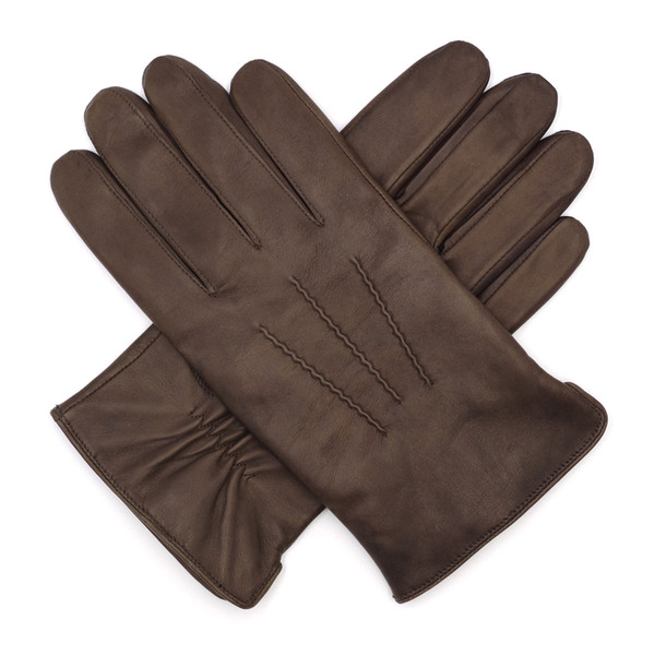 High Qulity Casual Mens Luxury Italian Sheepskin Leather Fingers Gloves 100% Wool Lined Vintage Finished Winter Brown
