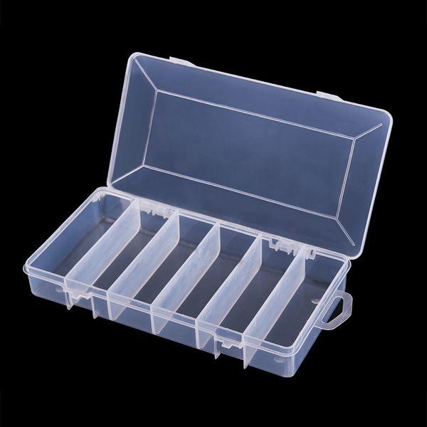 best selling Hot 6 Compartments Storage Case Portable Plastic Fishing Lure Hook Bait Tackle Box Fishhook Transparent Shrimp Boxes Accessories