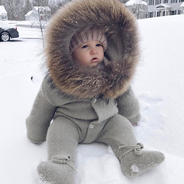 best selling 2018 New Fashion Newborn Toddler Infant Baby Boys Girls Romper Long Sleeve Jumpsuit Playsuit Outfits Hooded Plush Collar Baby Clothes
