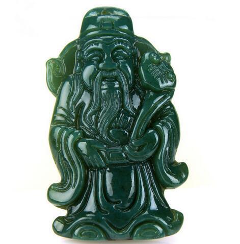 Pendentif en jade naturel Qingyu XinJiang Dieu de la richesse Pendentif Zhaocai Jinbao en jade Dieu de la richesse