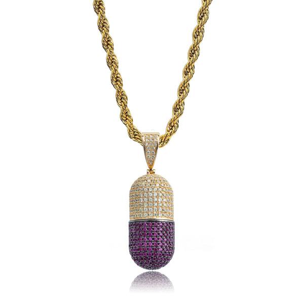 New Hip Hop Colorful Pill Bottle shape Necklace Can Open Capsules Pendant Cubic Zircon Necklace Iced Out Detachable Unisex