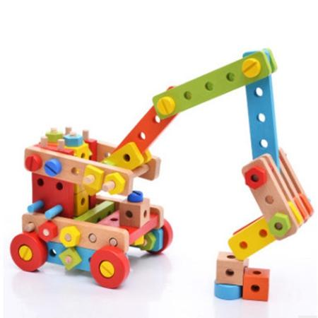 Blocks Wood Model Magicaf Nut Combination of Building Blocks Child Assembling Toys Disassembly Puzzle Belt Tools Educational Toy