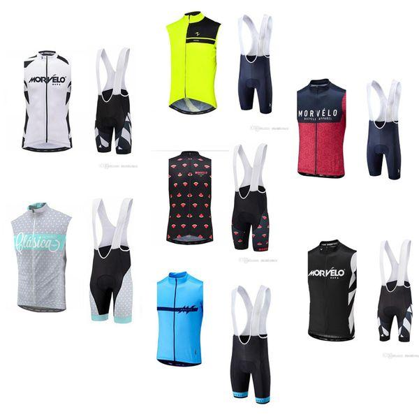 Morvelo team Cycling Sleeveless jersey Vest (bib) shorts sets new Breathable Mountain bike Sportwear GEL Padded ropa ciclismo F52201