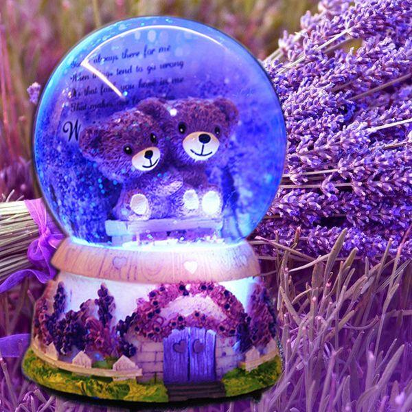 Lavender Night Lamp Bear glows snowflake Crystal Ball small Night Lamp Music Box Little Night Lamp Valentine's Day present