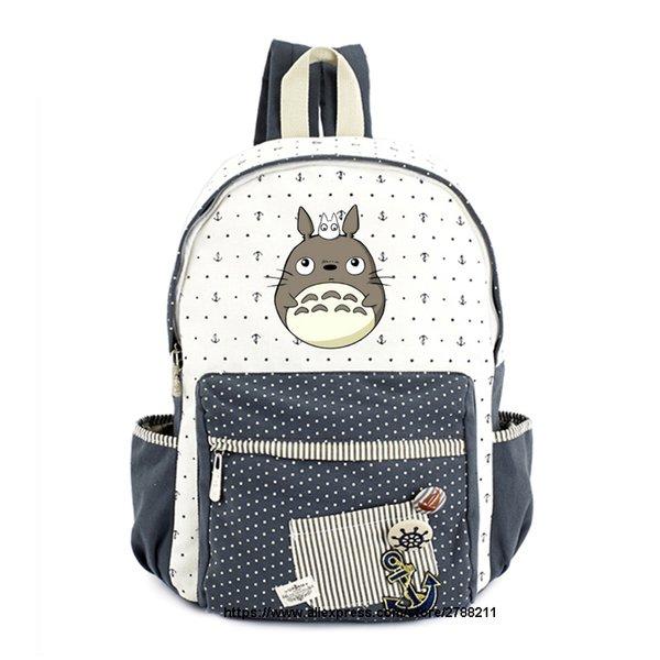 Kadın Kızlar için Totoro okul çantaları Anime Sırt Çantası Okul Çantaları Tuval Karikatür Kitap Komşum Totoro Baskılı