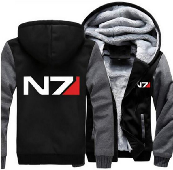 Dropshipping Mass Effect N7 Hommes Sweat À Capuche Veste Zipper Sweat Hiver Chaud Polaire Épaissir Veste À Capuche Manteau