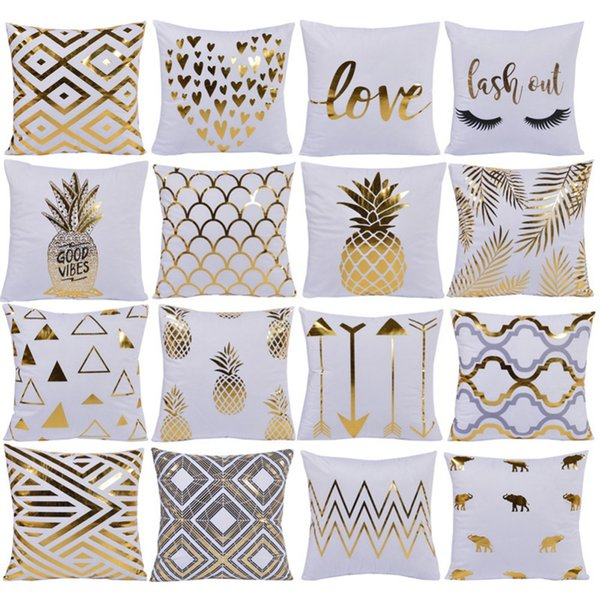 Meijuner Bronzing Christmas Cushion Cover Gold Printed Hot Pillow Cover Decorative Pillow Case Sofa Seat Car Pillowcase Soft